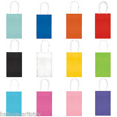 10 Classic SMALL Children's Birthday Party Solid Colour Paper Loot Gift Bags