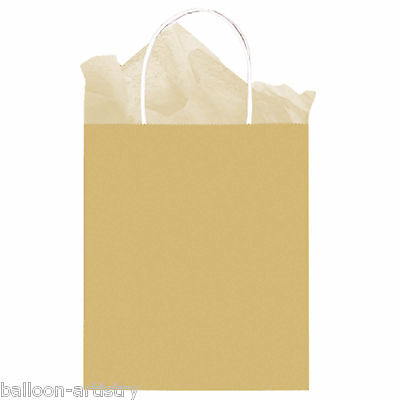 Classic MEDIUM Children's Birthday Party GOLD Paper Loot Gift Bag