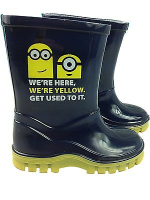 New Boys Girls Kids Minion Wellington Snow Boots Waterproof Wellies Shoes