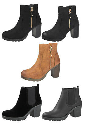 Womens Mid Chunky Block Heel Chelsea Low Ankle Boots Platform Ladies Shoes Size