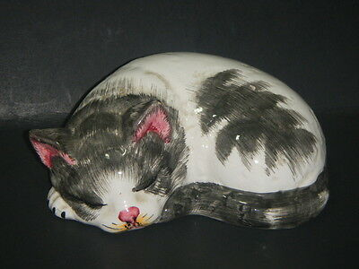 Vintage Black & White SLEEPING CAT Hand Decorated Made in ITALY Cat FIGURINE