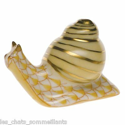 HEREND MINIATURES COLLECTION BABY SNAIL PORCELAIN FIGURINE BUTTERSCOTCH-FLAWLESS