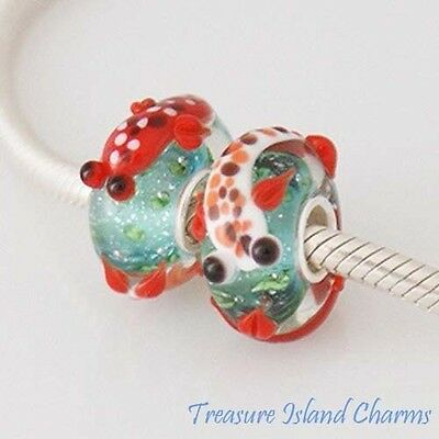 KOI FISH RED AND WHITE MURANO GLASS .925 Sterling Silver EUROPEAN Bead Charm