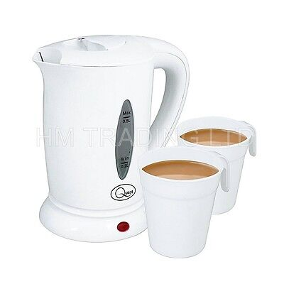 500ml Electric Travel Kettle White With 2 Cup Compact Portable Caravan 600w 0.5l
