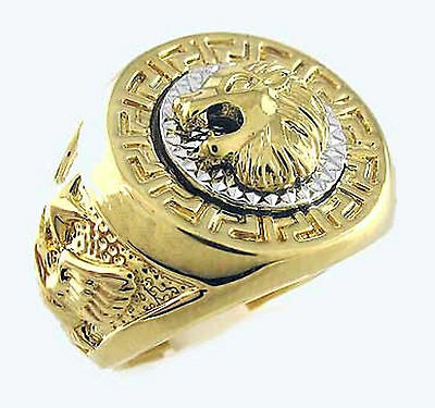 Wonderful ,A symbol of power,Carved lion head and eagle,18K GP mens ring, SZ :12