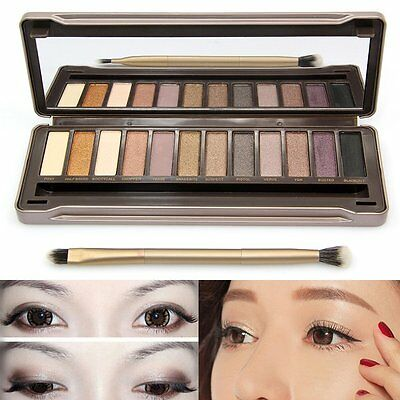 12 Color Pro Eye Shadow Makeup Cosmetic Shimmer Matte Eyeshadow Palette+Brush