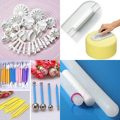 Fondant Flower Cutters Cake Decorating Smoother Rolling Pin Modelling tools #F