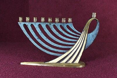 Vintage Judaica Jewish Enameled Brass Menorah 9 Candle