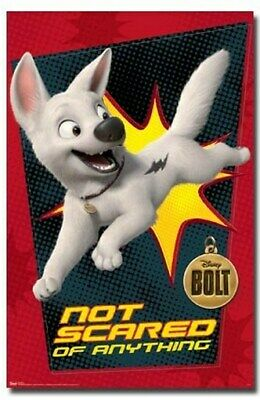 DISNEY BOLT MOVIE POSTER Not Scared of Anything RARE