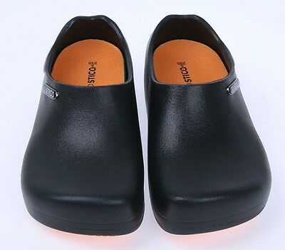 Comfort Chef Shoes Non-Slip Cushion Black clog Kitchen Bathroom Water Safety