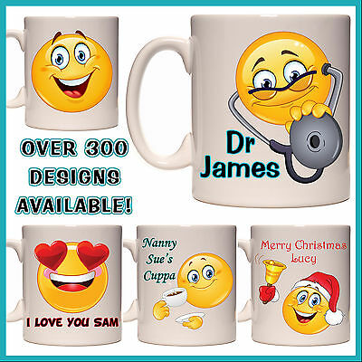Personalised Smiley Face Mug - with any Name / Msg - Many Designs - Gift - Emoji