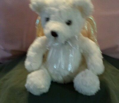 Avon  White Sitting Bear with Wings that move and 2 religious songs