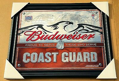 BUDWEISER U.S COAST GUARD MILITARY BEER BAR MIRROR SIGN NEW