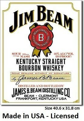 Jim Beam White Label Tin Sign 1061  Made in USA - Licensed- Not Chinese Fake