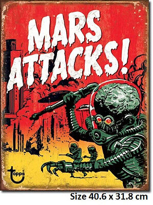 Mars Attacks Tin Sign 1850  Made in USA