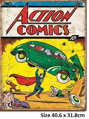 N0 1 June 1938 Action Comics Cover Superman Tin Sign 1965 Made in USA Big Bang