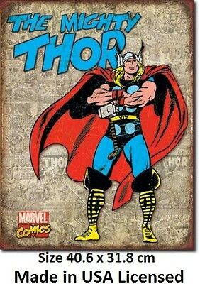 The Mighty Thor Tin Sign 1889  Made in USA - LICENSED TO MARVEL COMICS