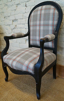 French Antique Voltaire Upholstered Armchair in Tartan Fabric