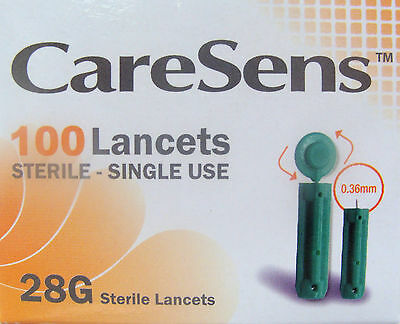 Caresens Lancets x 100, 28g, sterile single use finger pricking lancets