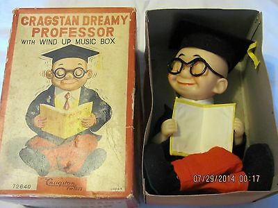 "Extremely Rare CRAGSTAN ""DREAMY PROFESSOR"" Wind Up Toy w/Original Box"