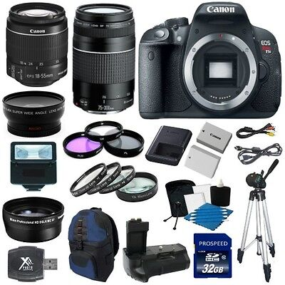 Canon EOS Rebel T5i 700D Body + 18-55 STM + 75-300mm + 32GB 8 Lens Deluxe Kit