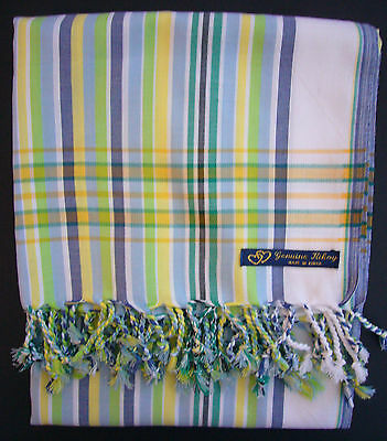 NEW Kikoy Kikoi White Blue Green Africa Cotton Sarong Throw Scarf Kenya Swimwear