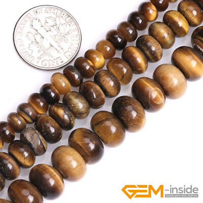"""Natural Stone Tiger's Eye Faceted Rondelle Spacer Beads For Jewelry Making 15""""YB"""
