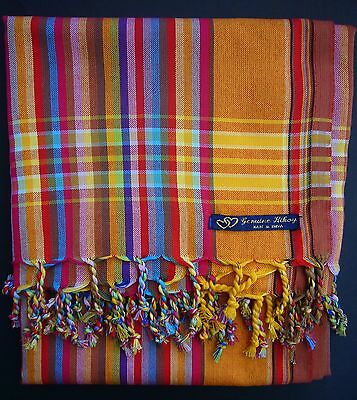 NEW Kikoy Kikoi Orange Multi African Cotton Sarong Throw Scarf Kenya Swimwear