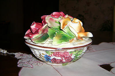 ITALIAN CERAMIC POTTERY ROSES COVERED BOWL MADE IN ITALY NUMBERED