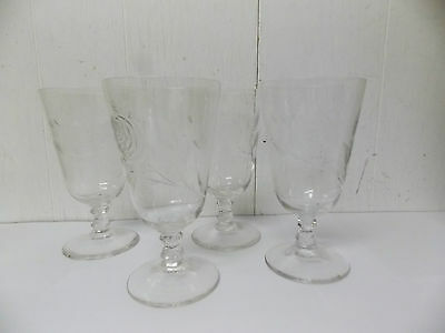 Vtg Crystal Stemmed Goblets Cut Glass Rose Pattern with Thistle Leaf  Set /4