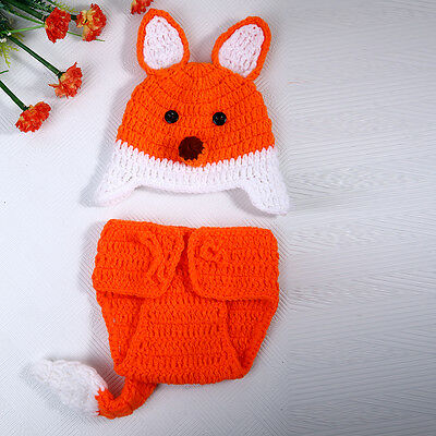 Newborn Baby Fox Crochet Knit Costume Photo Photography Prop Outfits