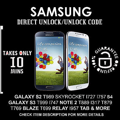 UNLOCK CODE for Samsung S2 i727 T989 S3 T999 Note 2 T889 i317 i717 At&t T-mobile
