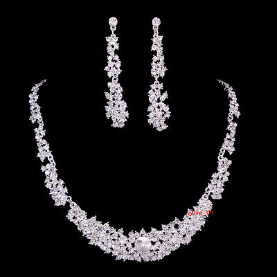Super Twinkling Full Crystal Wedding Austrian Crystal Necklace Earrings Set