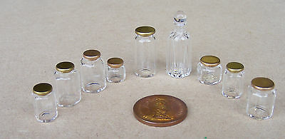 1:12 Scale Dolls House Glass Jars With Lids Apothecary Kitchen Storage Accessory