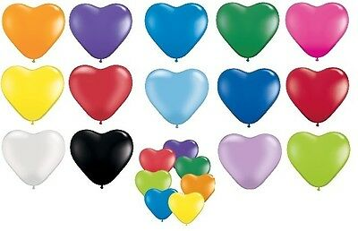 "12 x 15cm (6"") Qualatex Heart Shaped Latex Party Balloons Birthday Wedding Event"