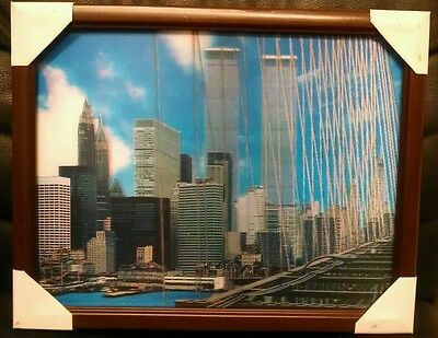 """New York City Twin Towers World Trade Center 3-D Framed Picture, 14 1/2""""x11 3/4"""""""