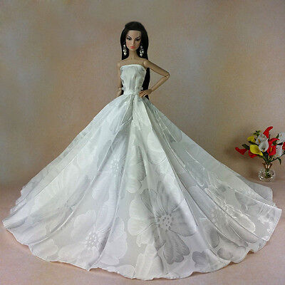 White Fashion Royalty Party Dress&Wedding Clothes/Gown For Barbie Doll w-80p