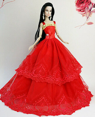 Red Fashion Princess Party Dress/Clothes/Gown For Barbie Doll S-121p