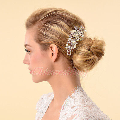 Princess Pearl Flower Bridal Hair Comb Headpiece Hair Accessory w/ Crystal