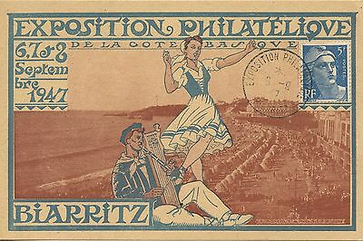 Carte Postale Exposition Philatelique De Biarritz 1947 / Type Gandon 1947