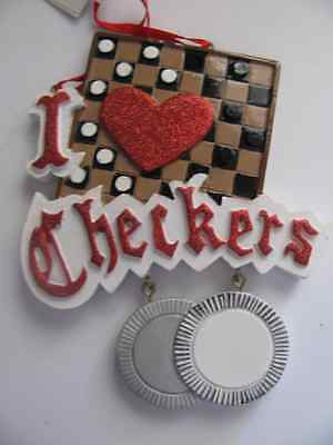 NEW NWT Christmas Ornament Kurt Adler Checkers Game Gamer Chips I love Checkers