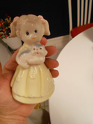 """GIRL HOLDING PUPPY BELL FIGURINE-VG+ CONDITION-4 3/4"""" HIGH"""
