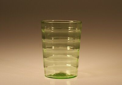 Vintage Deco Hocking Glass Company Green Block Optic Flat Water Tumbler c.1930