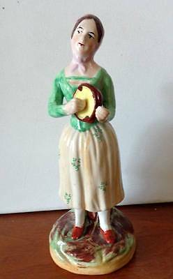 ANTIQUE STAFFORDSHIRE POTTERY FIGURINE-LADY with TAMBOURINE-ENGLAND