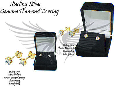 Genuine Natural Diamond Stud Earrings Illusion 925 Sterling Silver STSLVDIAER