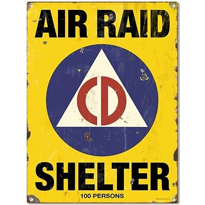 Air Raid Shelter Civil Defense Game Room Sign Vintage Atomic Age Decor 12 x 16
