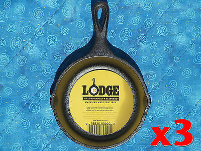 3 Lodge H5MS 5 inch Cast Iron Mini Skillets Pre-Seasoned by Lodge Ready to Use