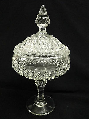 COVERED PEDESTAL GLASS COMPOTE IN THE DIAMOND POINT PATTERN BY INDIANA GLASS