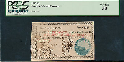 "Ga-87 Georgia Colonial Currency 1777 $5.00 -- Pcgs Vf ""30"" -- Wl1827"