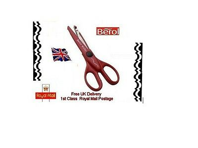 """Berol Tilly Decorative wave Edge pattern 6"""" scissors Red for paper & card Art"""